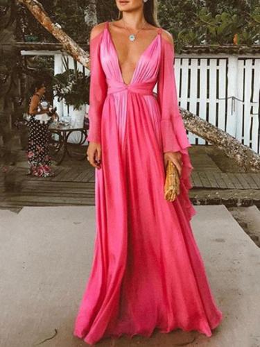 Sexy backless  deep v neck women long sleeve evening dresses