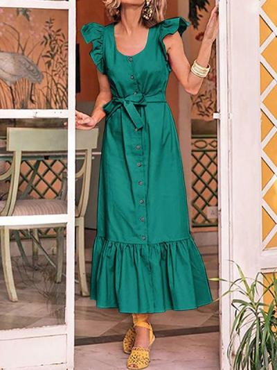 Chic women U-neck scalloped sleeves Long maxi dresses