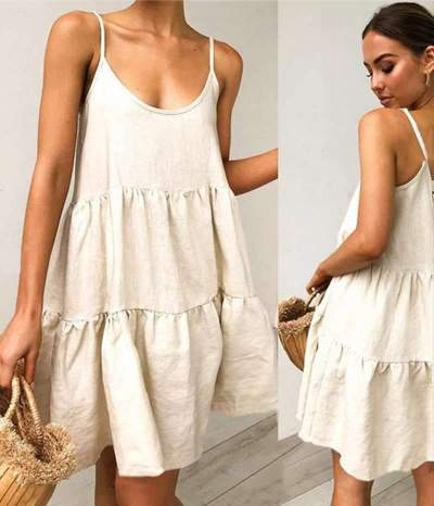 Casual Loose Pure Round neck Vest Gored Shift Dresses