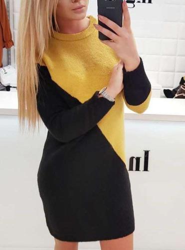 Fashion Gored Round neck Long sleeve Shift Dresses