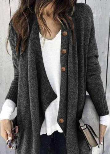 Fashion Pure Knit Long sleeve Coats