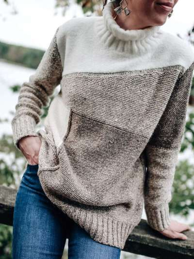 Loose High collar Gored Long sleeve Knit Sweaters