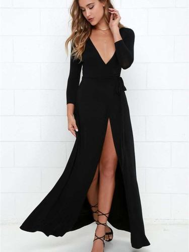 Sexy V neck Knit Long sleeve Vent Irregular Skater Maxi Dresses