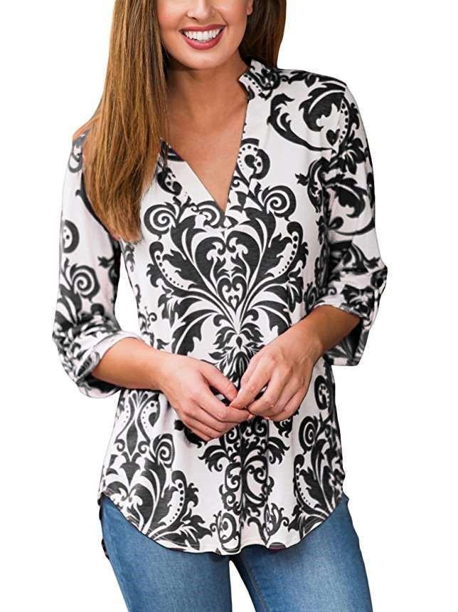 Floral V neck T-Shirts