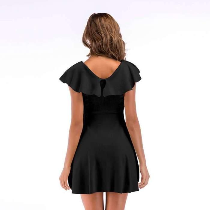 Fashion Pure Round neck Falbala Skater Dresses