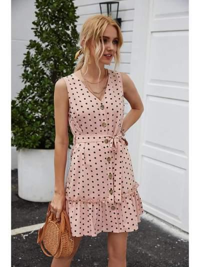 Fashion Point print V neck Sleeveless Lacing Falbala Skater Dresses