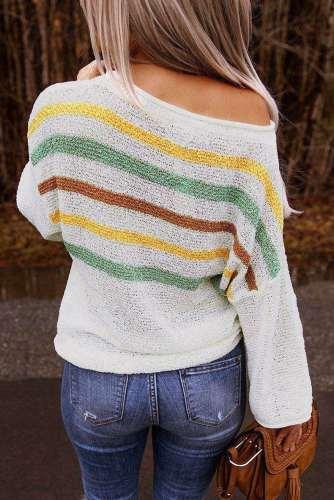 Fashion Stripe Long sleeve One shoulder Knit Sweaters