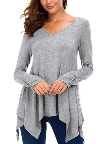 V Neck Long Sleeve Woman Asymmetrical Hem T-shirts