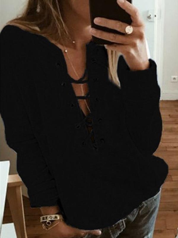 plain long-sleeve v neck tie women Sweatshirts
