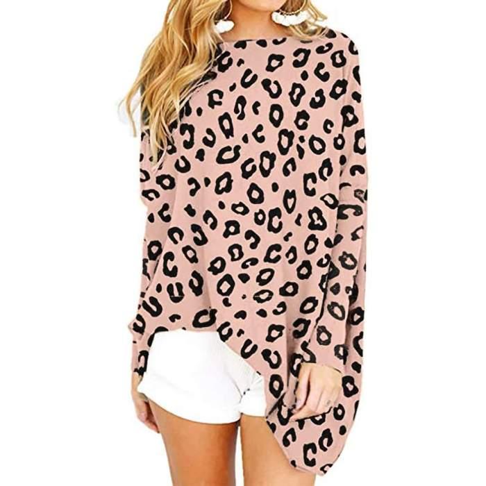 Leopard print Long sleeve Round neck Knit Shift Dresses