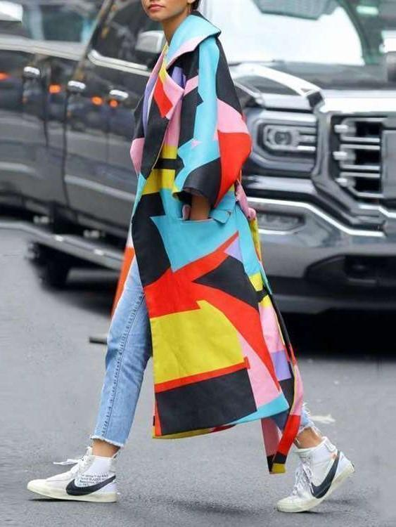 Fashion Print Lapel Long sleeve Coats