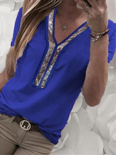 Solid color patchwork v-neck Decorative beaded  short sleeve T-shirt
