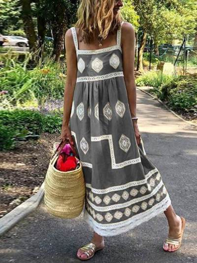 Bohemian loose casual large size sleeveless maxi dresses
