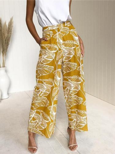Leaf printed slacks Casual Loose Daily Long Pants