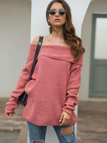 Loose Pure Off shoulder Knit Sweaters