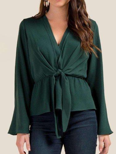 Fashion Lacing V neck Blouses