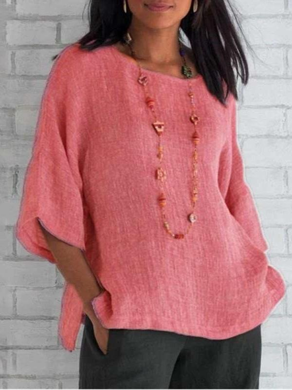 Casual Pure Round neck Three quarter sleeve Blouses