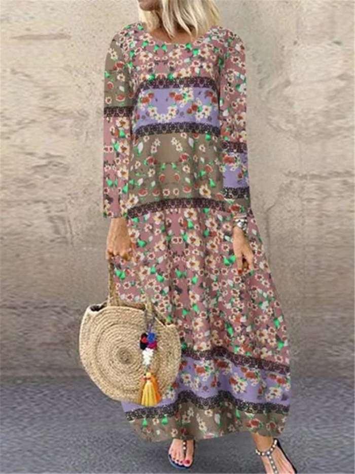 Print Long sleeve Round neck Maxi Dresses