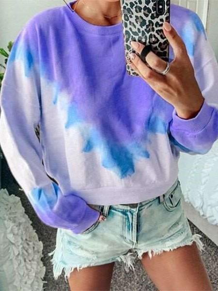 Fashion Print Round neck Long sleeve  Sweatshirts