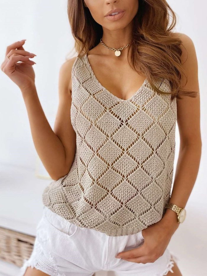 Sexy Pure Hollow out V neck Vests