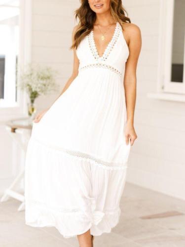 Fashion Sexy Lacing Backless V neck Maxi Dresses