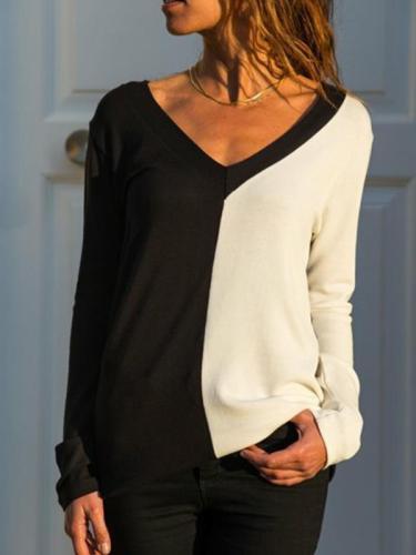 V Neck Color Block Long Sleeve Elegant T-Shirts