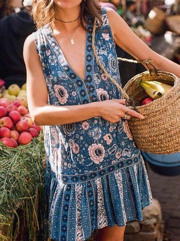 Casual Print V neck Sleeveless Falbala Shift Dresses