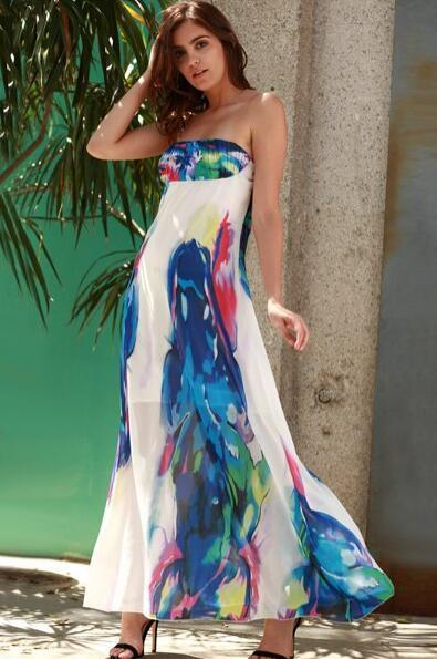 Sexy Off shoulder Sleeveless Floral Maxi Dresses