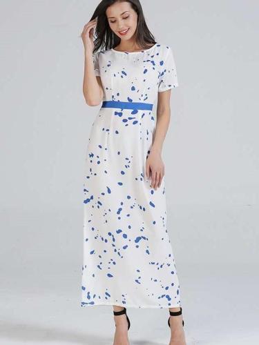 Fashion Short sleeve Floral Lacing Maxi Dresses