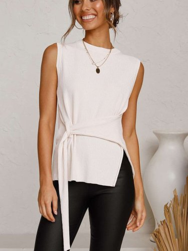 Fashion Pure Round neck Sleeveless Lacing T-Shirts