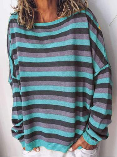 Fashion Stripe Round neck Long sleeve T-Shirts
