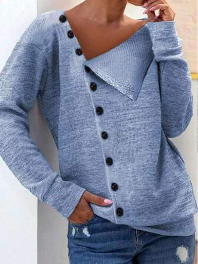Casual irregular neck plain button down knit sweaters