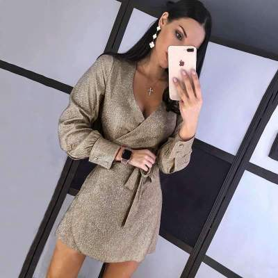 Fashion Long sleeve V neck Lacing Skater Dresses