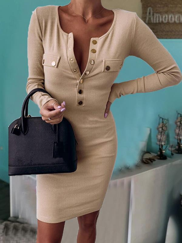 Round neck buttons long sleeves plain bodycon dresses