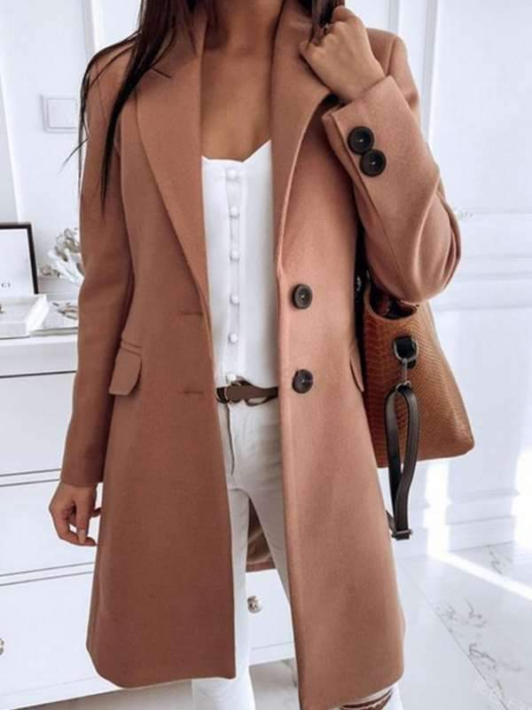 Solid color turtlElegant plain turn down neck long sleeve two buttons long coats