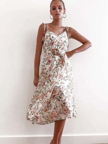 Fashion Print V neck Vest Sleeveless Lacing Skater Dresses