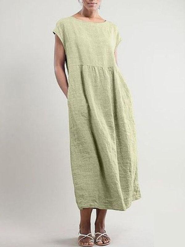 Round Neck Plain Loose Casual Maxi Dresses