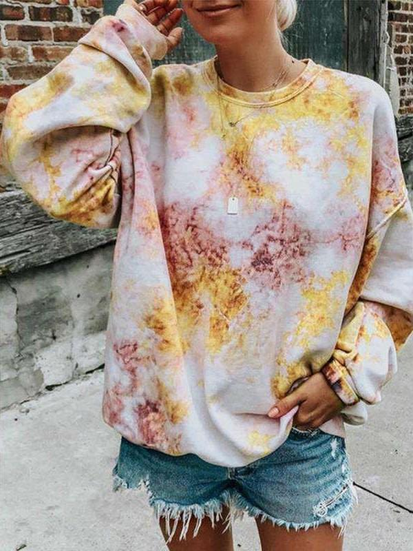 Fashion Casual Loose Plangi Round neck Long sleeve Sweatshirts