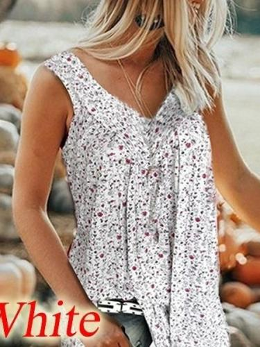Fashion Print V neck Vest T-Shirts