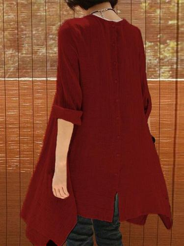 Cotton and Linen Woman Long Sleeve Daily Loose Shift Dresses