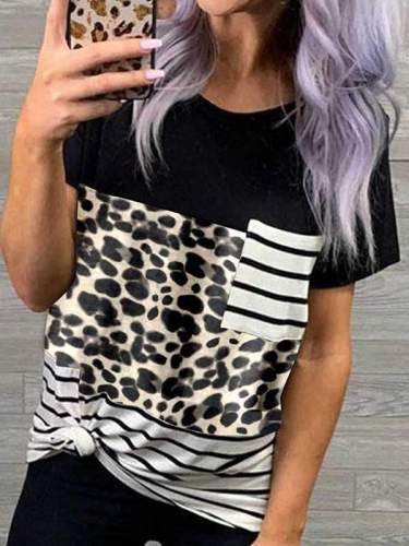 Casual round neck pullover leopard printed camouflage patchwork slim T-shirts