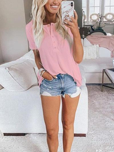 Casual plain summer round neck short sleeve T-shirts