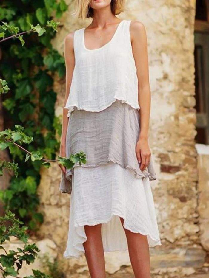 Fashion Gored Vest Cotton Maxi Dresses