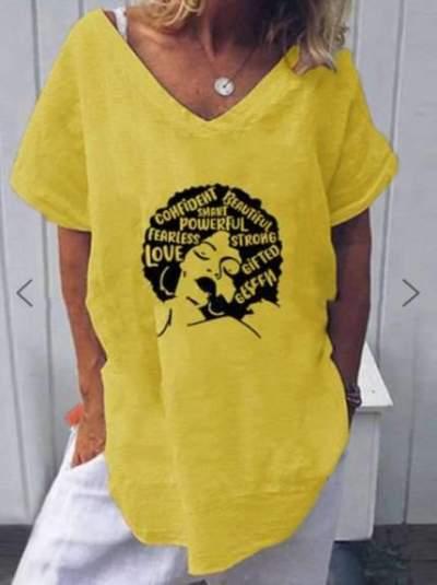 Casual Loose Print V neck Short sleeve T-Shirts
