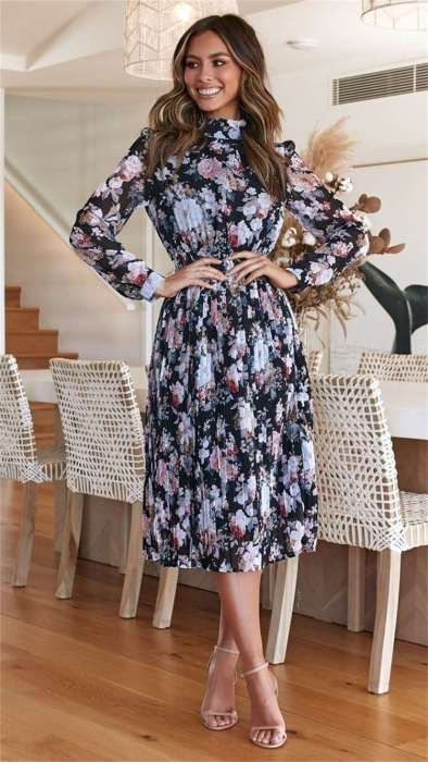 Fashion Print Long sleeve High collar Skater Dresses