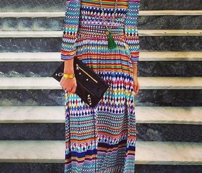 Fashion Print Round neck Long sleeve Maxi Dresses