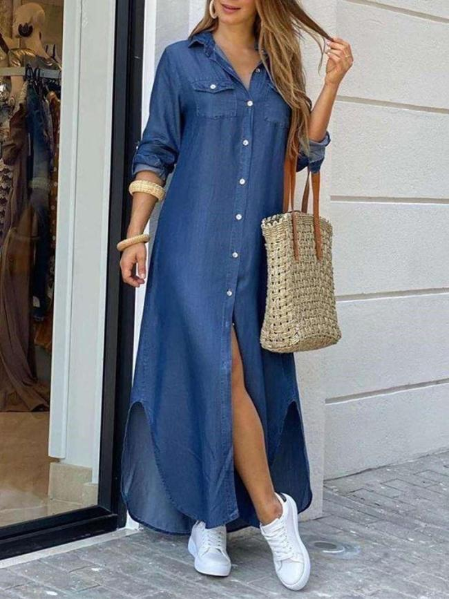 Fashion Casual Loose Print Lapel Long sleeve Fastener Maxi Dresses