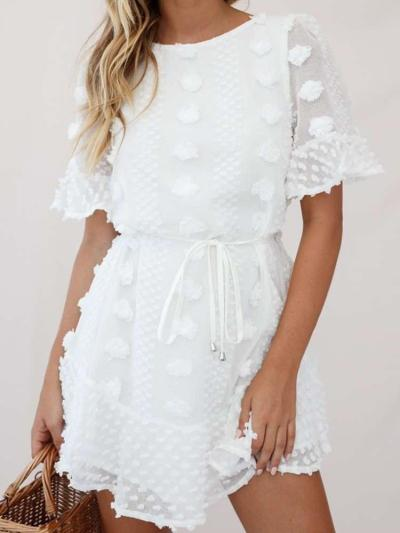 Sexy Round neck Pure Lacing Short sleeve Skater Dresses