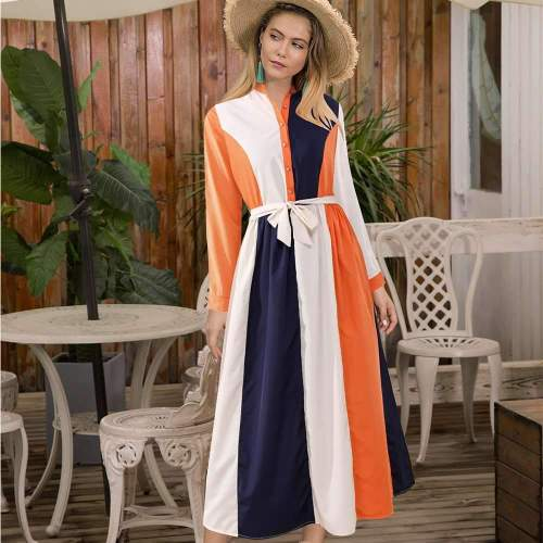 Fashion Stripe Stand collar Long sleeve Lacing Maxi Dresses