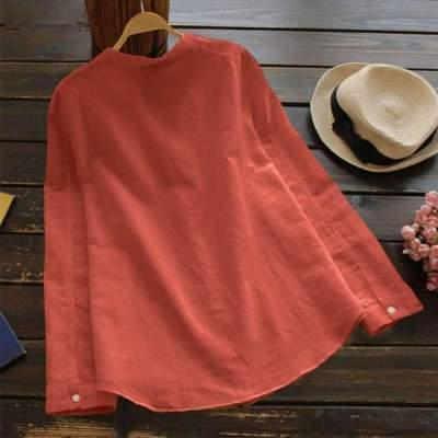 Fashion Casual Pocket Print V neck Long sleeve Women Blouses